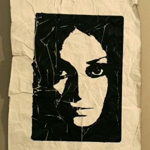 Time and Being (silk screening on a crumpled paper, 1st day) 2008