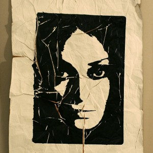 Time and Being (silk screening on a crumpled paper, 3rd day) 2008