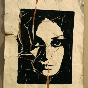 Time and Being (silk screening on a crumpled paper, 5th day) 2008